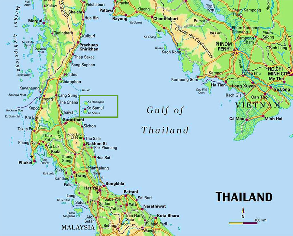 Land For Sale Koh Phangan Map Koh Phangan Map Haad Salad Map